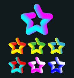 3d colorful star set vector image