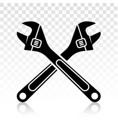 Adjustable wrench flat icons on a transparent vector