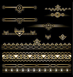 Art deco set of objects and borders vector
