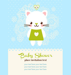 Baby shower invitation card with cat vector