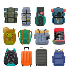 Backpack camp backpacking travel bag with vector