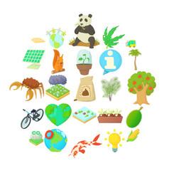 bionomics icons set cartoon style vector image