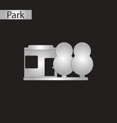 black and white style icon park house vector image