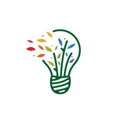 bulb leaf tree idea smart think logo icon vector image