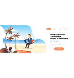 businessman freelance remote working place beach vector image