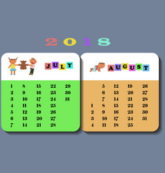 calendar 2018 with cute children vector image