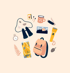 Camping stuff hand drawn objects tourism concept vector