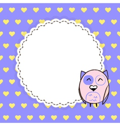 Card template with yellow hearts on a purple vector