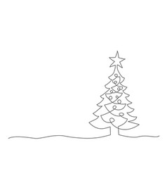 christmas tree one line drawing on white vector image