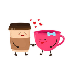Coffee cups love flirt flat style vector