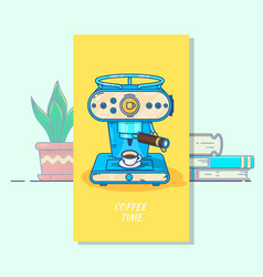 coffee machine with a hot coffee cupflat thin vector image