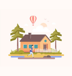 Country landscape - modern flat design style vector