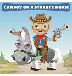 Cowboy rider on a strange horse vector image