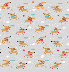 Dachshunds dogs seamless pattern vector
