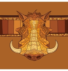 Decorative warthog head vector image