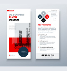 dl flyer design layout black red corporate vector image