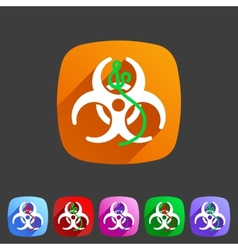 Ebola biohazard flat icon badge vector image