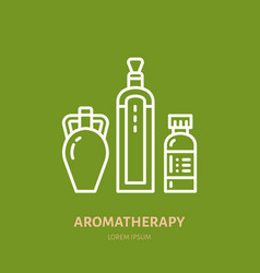 essential oils bottle line icon logo for vector image