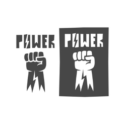 fist raised up icon black vector image