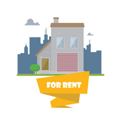 flat house on city background real estate concept vector image