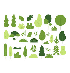 flat minimal tree and leaves vector image