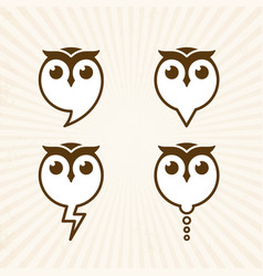 four owl icon vector image