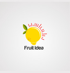 Fruit idea logo icon element and template for vector