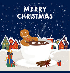funny cartoon with gingerbread man in cup hot vector image