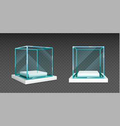 Glass cube box on white stand for exhibit vector