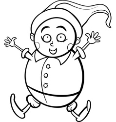 Gnome or dwarf cartoon coloring page vector