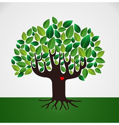 Go green tree love vector image