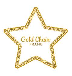 gold chain star border frame wreath starry shape vector image