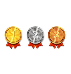 Gold silver and bronze medals winner awards vector