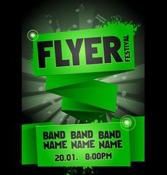 green rock festival flyer design template for part vector image