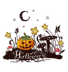 halloween silhouette with colorful design elements vector image