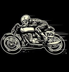 Hand drawing of skull riding vintage motorcycle vector
