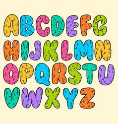 hand drawn doodle funny font set sketch cute vector image