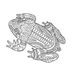Hand drawn frog for coloring book for adult vector