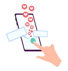 hand holding smartphone with heart emoji message vector image