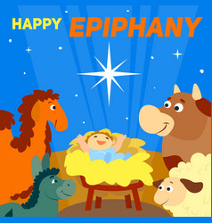 Happy epiphany concept background cartoon style vector
