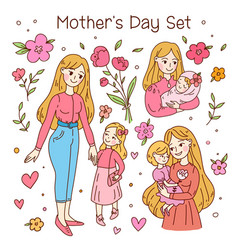 Happy friendship day set mother and daughter vector