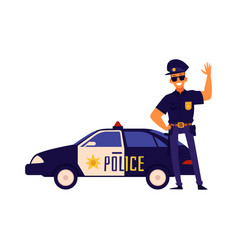 happy policeman standing next to police car vector image