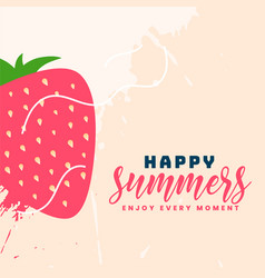 Happy summer strawberry fruit background vector