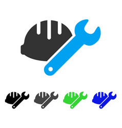 Helmet with wrench flat icon vector
