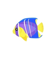 Heniochus Intermedius Fish Flat Design vector image