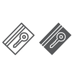 key card line and glyph icon hotel and access vector image