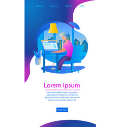 learning man watch lesson in internet banner vector image
