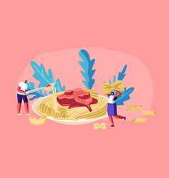 Male and female characters eating spaghetti pasta vector