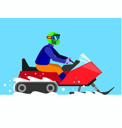 man riding snowmobile in winter flat vector image