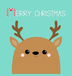 Merry christmas raindeer deer head face big horns vector